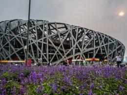 Het Vogelnest Stadion van de Olympische Spelen in Beijing in 2008