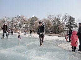 Bevroren meren tijdens de winter in Chengde