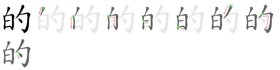 的 - Het meestvoorkomende Chinese karakter