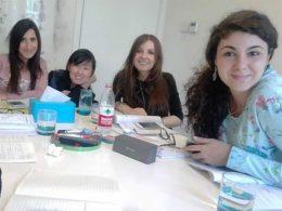 Sofia en haar Italiaanse studenten
